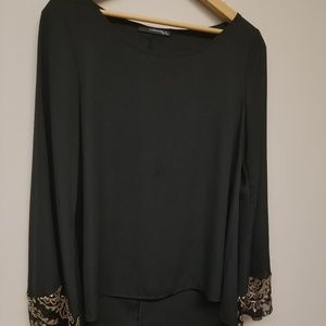 black blouse gold sequins flared sleeves